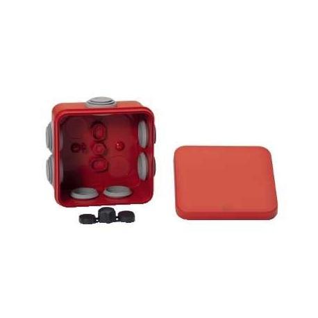 Boîte de dérivation à embouts pour circuits de sécurité Mureva Box - 80 x 80 x 45 mm - Rouge