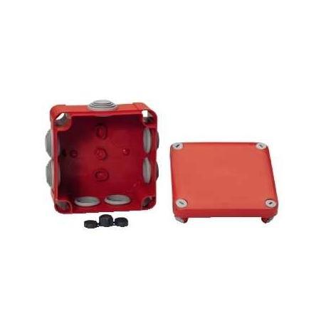 Boîte de dérivation à embouts pour circuits de sécurité Mureva Box - 105 x 105 x 55 mm - Rouge