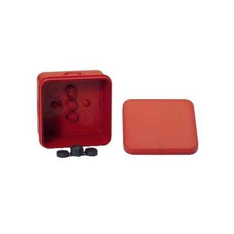 Lot de 5 - Boîte de dérivation à entrées prédéfoncées pour circuits de sécurité Mureva Box - 80 x 80 x 45 mm - Rouge