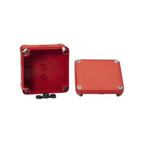 Lot de 5 - Boîte de dérivation à entrées prédéfoncées pour circuits de sécurité Mureva Box - 105 x 105 mm - Rouge