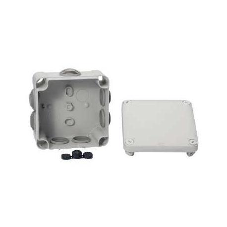 Lot de 5 - Boîte de dérivation à embouts pour circuits de sécurité Mureva Box - 105 x 105 mm - Gris