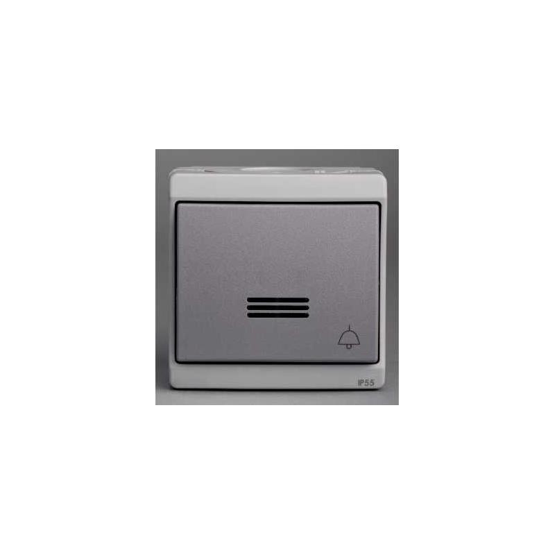 bouton poussoir lumineux avec picto sonnerie mureva gris. Black Bedroom Furniture Sets. Home Design Ideas