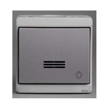 bouton poussoir lumineux avec picto lumi re mureva gris. Black Bedroom Furniture Sets. Home Design Ideas