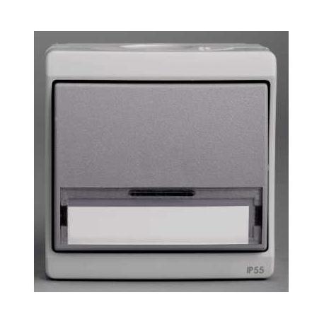 Bouton poussoir avec porte-étiquette Mureva - Gris - En saillie - IK07 IP55