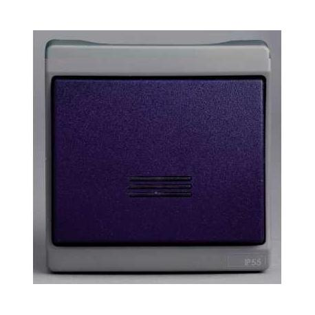 Bouton poussoir lumineux Mureva - Gris/bleu - En saillie - IK08 IP55