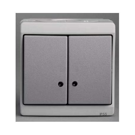 Double bouton poussoir lumineux Mureva - Gris - En saillie - IK07 IP55