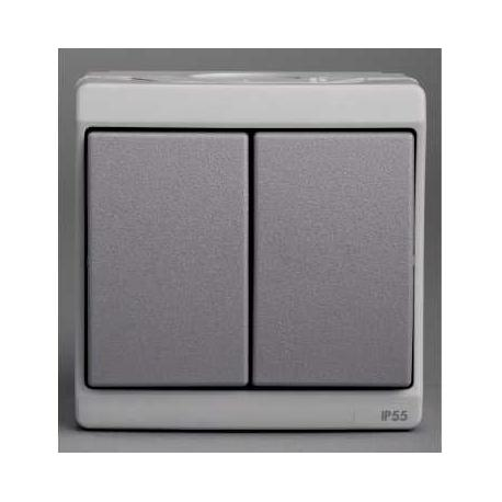 Double bouton poussoir Mureva - Gris - En saillie - IK07 IP55