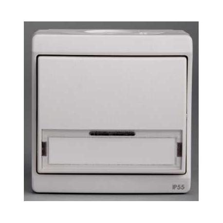 Bouton poussoir avec porte étiquette Mureva - Blanc - En saillie - IK07 IP55