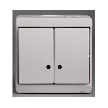 Double bouton poussoir lumineux Mureva - Blanc - En saillie - IK07 IP55