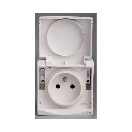 Prise de courant 2P+T NF Mureva - Blanc - En saillie - IK07 IP55