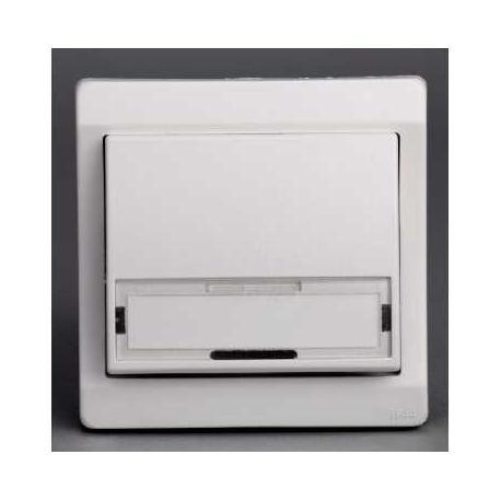 Bouton poussoir avec porte-étiquette Mureva - Blanc - Encastré - IP44 IK08