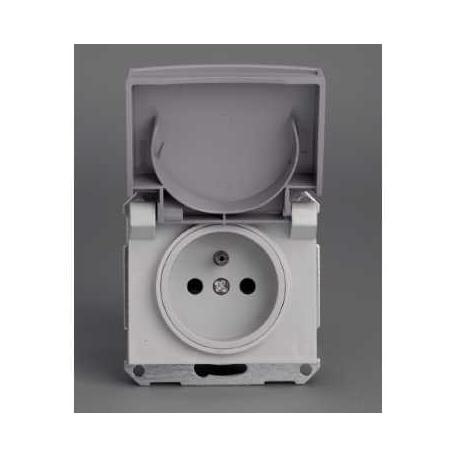 Prise de courant 2P+T NF Mureva - Gris - Composable - Encastré - IP44 IK08
