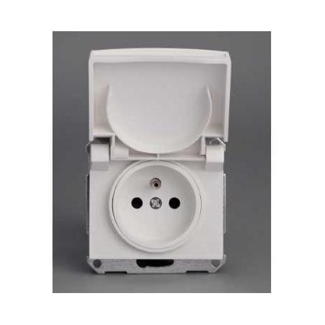 Prise de courant 2P+T NF Mureva - Blanc - Composable - Encastré - IP44 IK08