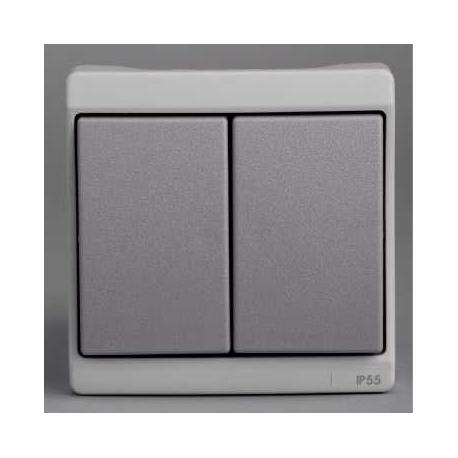 Double va-et-vient Mureva - Gris - Composable - En saillie - IK07 IP55
