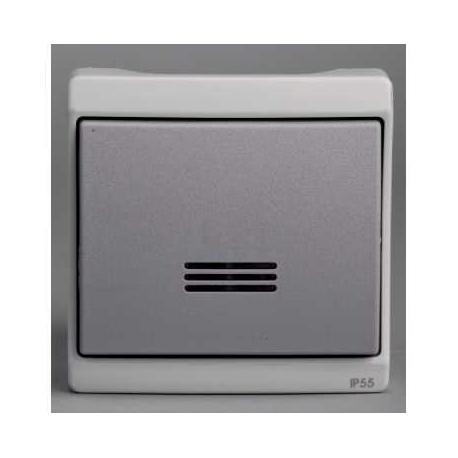 bouton poussoir lumineux mureva gris composable en. Black Bedroom Furniture Sets. Home Design Ideas
