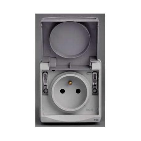 Prise de courant 2P+T NF Mureva - Gris - Composable - En saillie - IK07 IP55