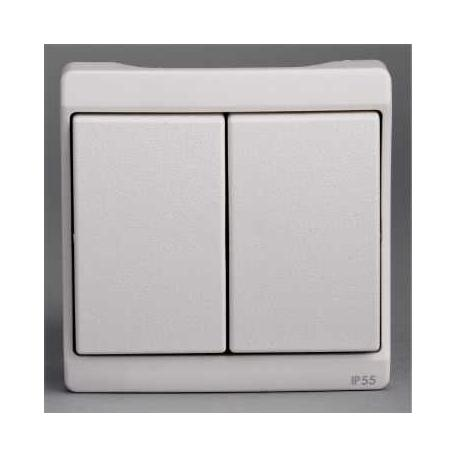 Double va-et-vient Mureva - Blanc - Composable - En saillie - IK07 IP55