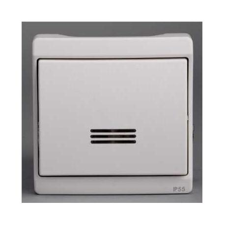 Bouton poussoir lumineux Mureva - Blanc - Composable - En saillie - IK07 IP55