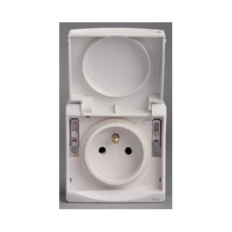 Prise de courant 2P+T NF Mureva - Blanc - Composable - En saillie - IK07 IP55