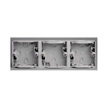 Boîtier 3 postes horizontaux Mureva - Gris - Composable - IP55 IK07