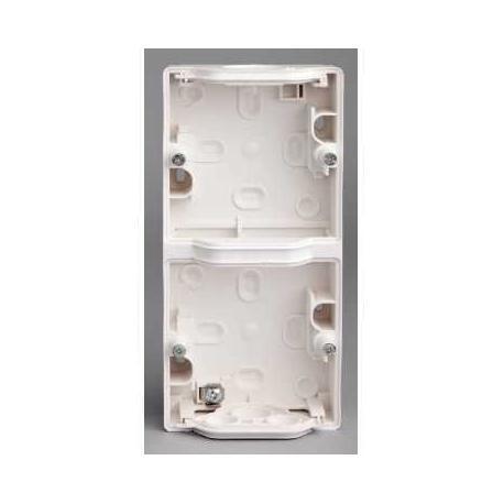 Boîtier 2 postes verticaux Mureva - Blanc - Composable - En saillie