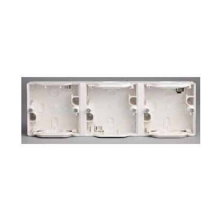 Boîtier 3 postes horizontaux Mureva - Blanc - Composable - IP55 IK07