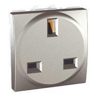 Prise de courant 2P+T standard britannique Unica - Bornes à vis - Aluminium
