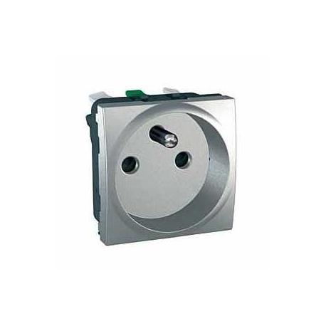 Prise de courant 2P+T Unica - Bornes auto - Aluminium