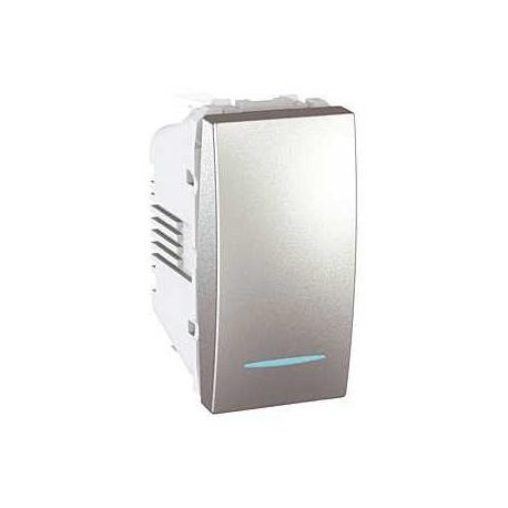 Poussoir lumineux Unica - Bornes auto - Aluminium - 1 module