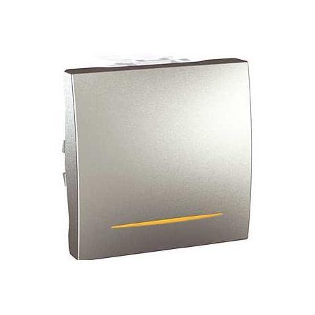Va-et-vient lumineux (témoin) Unica - Bornes auto - Aluminium - 2 modules