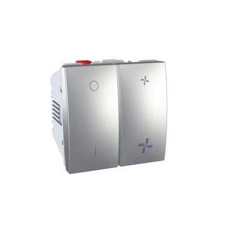 Interrupteur VMC Unica - 2 vitesses avec position arrêt - Aluminium
