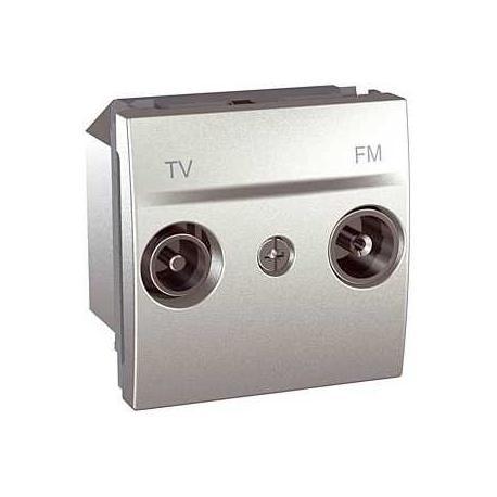 Prise TV / FM Unica - Passage (1 entrée, 1 sortie) - Aluminium