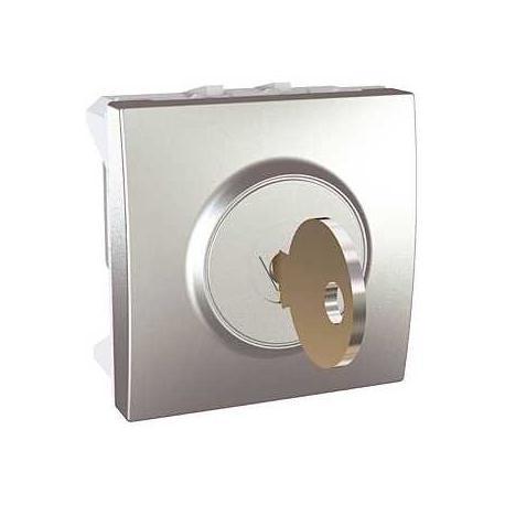 Interrupteur à clé 10 A Unica - 2 positions - Aluminium