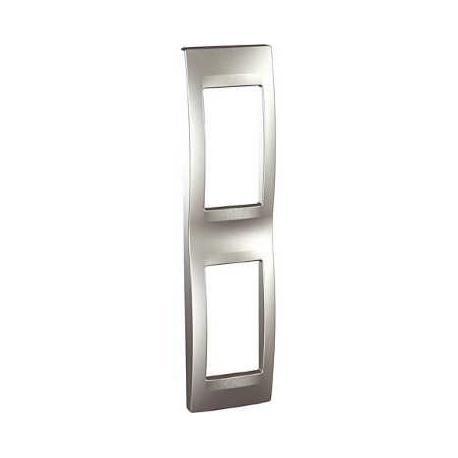 Plaque de finition Unica Top Aluminium - 2 postes - 2x1 modules - Vertical