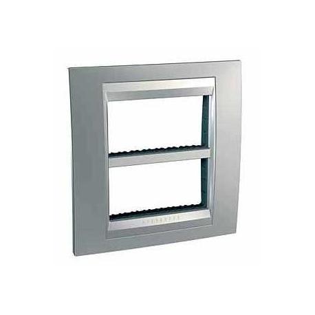 Plaque Unica Top Chrome Satiné - Liseré Aluminium - 2 postes - 2x4 modules - Entraxe 71 mm Vertical