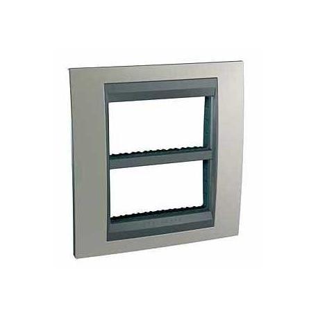 Plaque Unica Top Nickel Mat - Liseré Graphite - 2 postes - 2x4 modules - Entraxe 71 mm Vertical