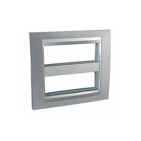Plaque Unica Top Chrome Satiné - Liseré Aluminium - 2 postes - 2x6 modules - Entraxe 71 mm Vertical