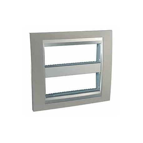 Plaque Unica Top Nickel Mat - Liseré Aluminium - 2 postes - 2x6 modules - Entraxe 71 mm Vertical