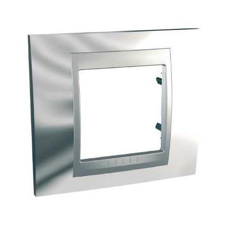 Plaque de finition Unica Top Chrome Brillant - Liseré Aluminium - 1 poste - 2 modules