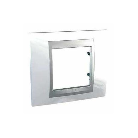 Plaque de finition Unica Top Blanc Techno - Liseré Aluminium - 1 poste - 2 modules