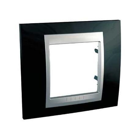 Plaque de finition Unica Top Noir Rhodium - Liseré Aluminium - 1 poste - 2 modules