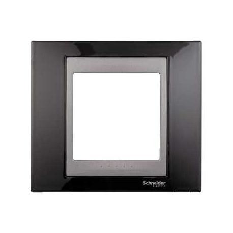 Plaque de finition Unica Top Noir Rhodium - Liseré Graphite - 1 poste - 2 modules