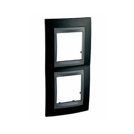 Plaque Unica Top Noir Rhodium - Liseré graphite - 2 postes - Entraxe 71 mm Vertical