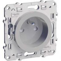 Prise 2P+T Odace - Aluminium - Bornes auto - spéciale rénovation (3 repiquages)