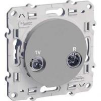 Prise TV / FM Odace - Aluminium - pour système en série (fin de ligne)