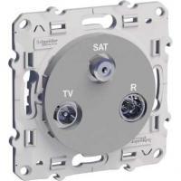 Prise TV / FM / SAT Odace - Aluminium - 2 entrées