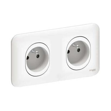 Double prise de courant 2P+T - Blanc - A vis - Complet - Ovalis