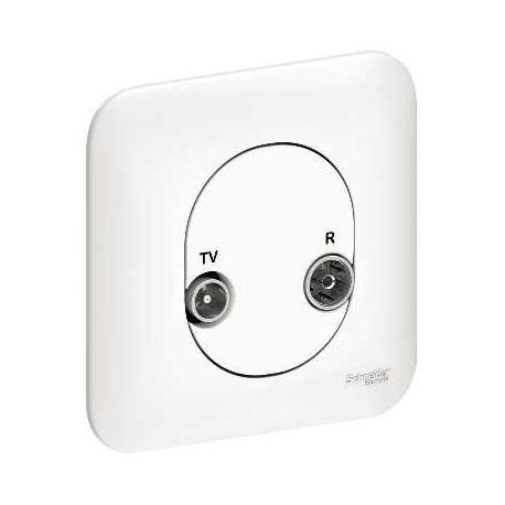 Prise TV + FM - 1 entrée - Blanc - A vis - Complet - Ovalis