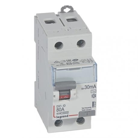 Interrupteur différentiel 80 A - Type AC - 2P - 30 mA - Vis/vis - Haut/bas - DX³-ID