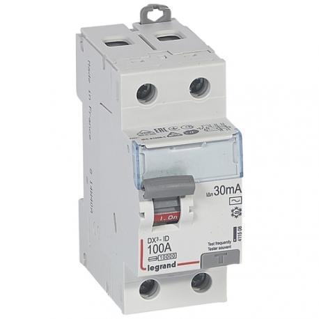 Interrupteur différentiel 100 A - Type AC - 2P - 30 mA - Vis/vis - Haut/bas - DX³-ID